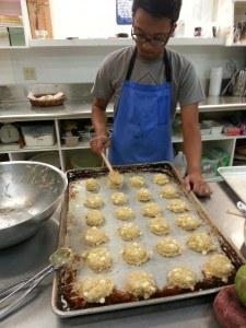 Students baking cookies
