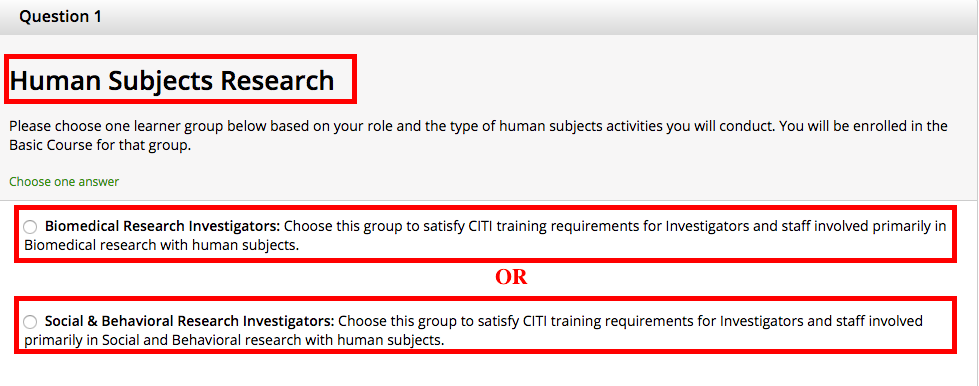 Human Subjects Training Required Institutional Review Board