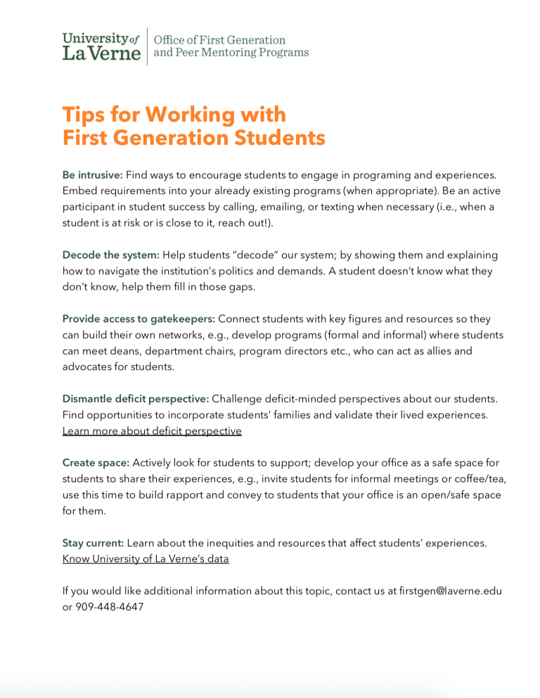 Tips for working with first generation students