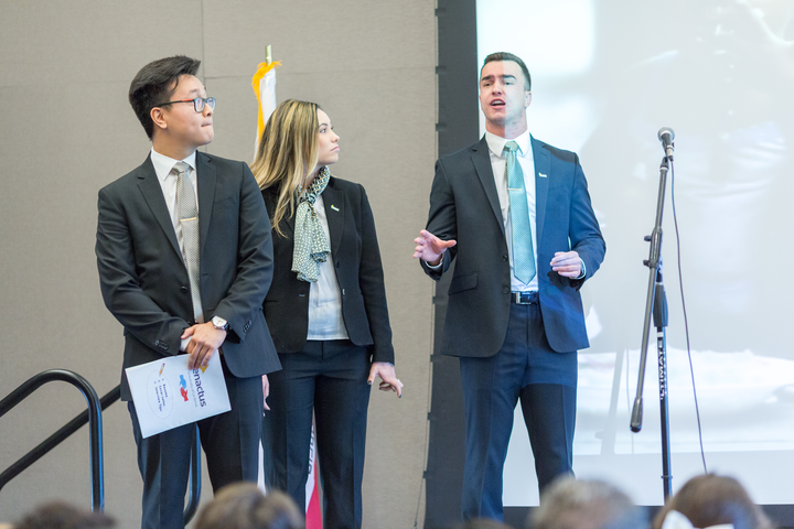 University of La Verne Enactus team presents at an event.