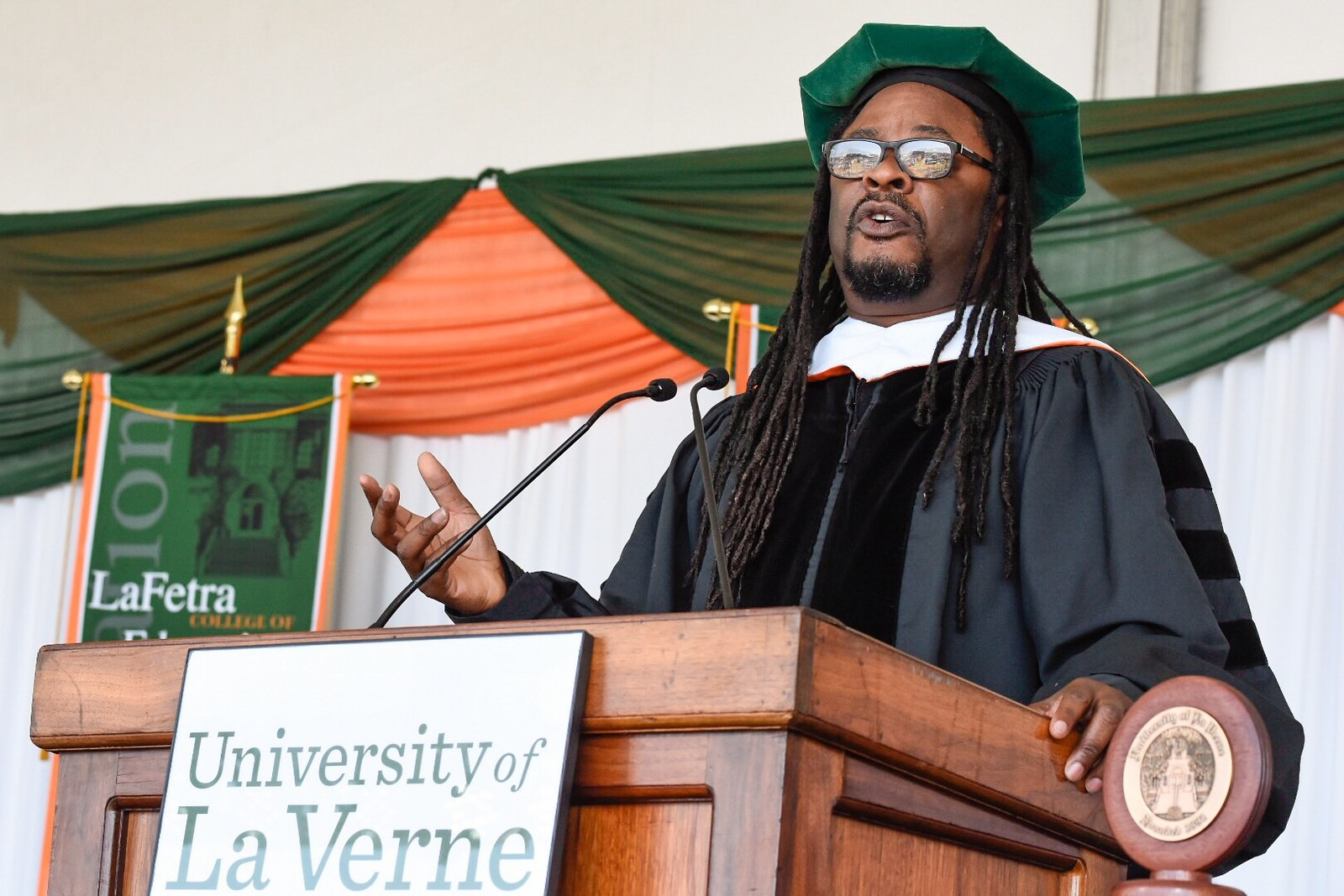 Lawrence Ross gives the keynote address during the University of La Verne's LaFetra College of Education commencement ceremony on June 3, 2018.