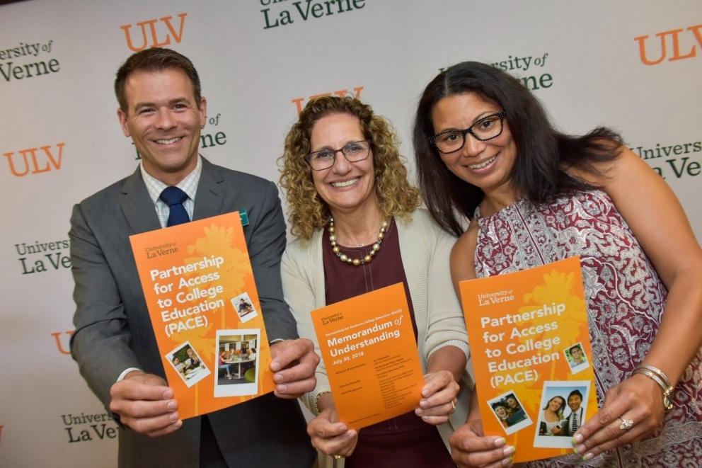 Todd Eckel, dean of admission; Devorah Lieberman, president; and Kimberly White-Smith, dean of the LaFetra College of Education at the University of La Verne.
