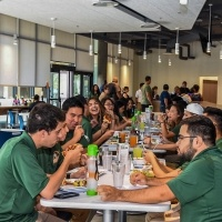 Students enjoy a meal at the brand new dining facility, The Spot.