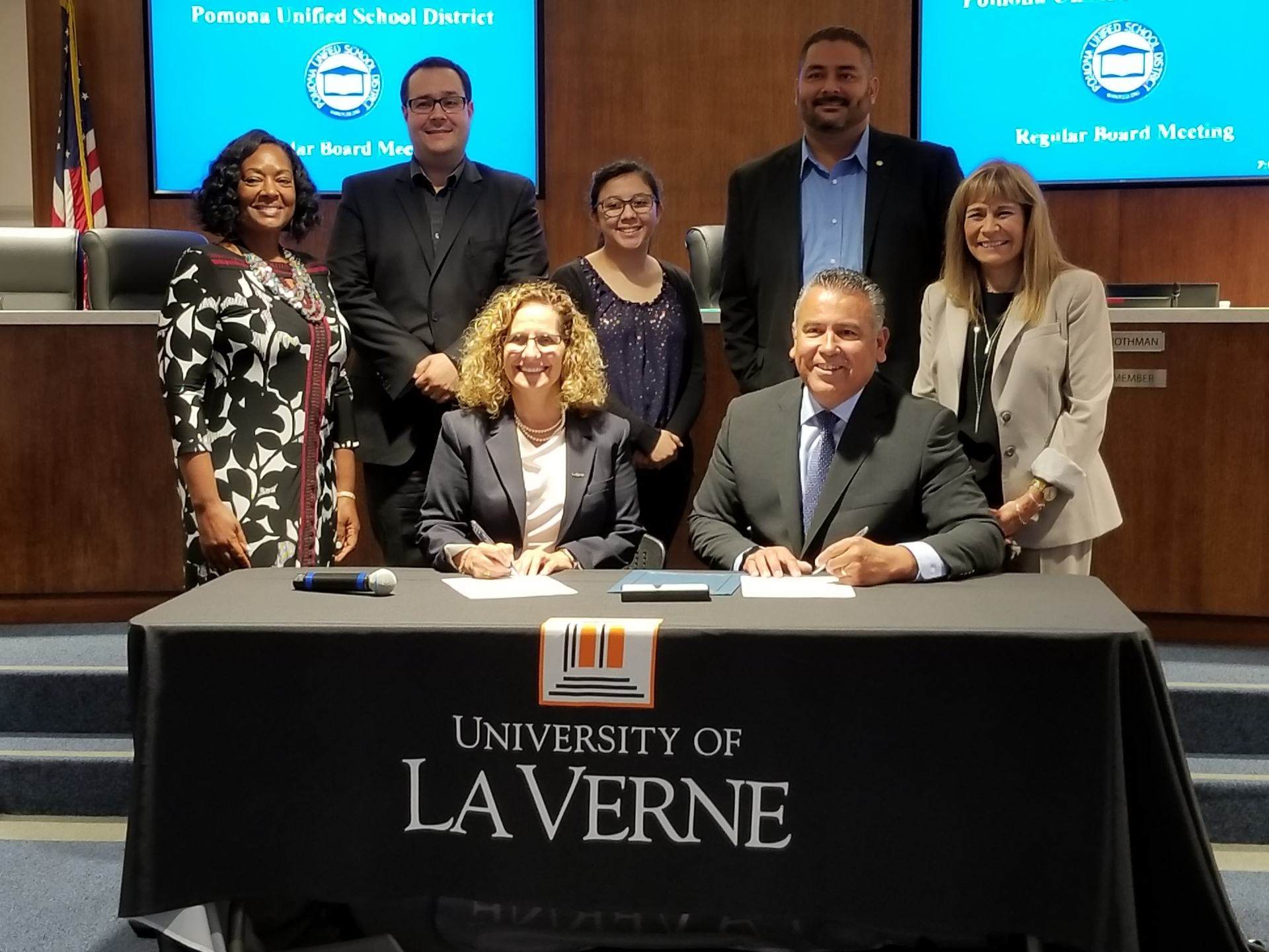University of La Verne President Devorah Lieberman, Pomona Unified Superintendent Richard Garcia, and members of the Pomona Unified School Board.