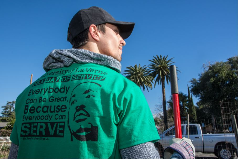 Male student wears MLK t-shirt