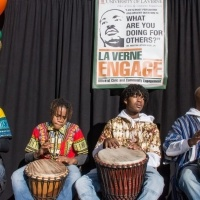 African drummers play at Day of Service