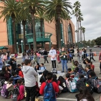 Students gathered at Honda Center