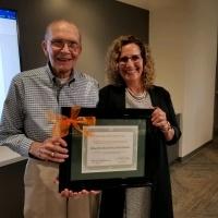 Bob Neher poses with University of La Verne President Devorah Lieberman