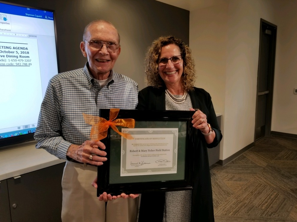 Bob Neher poses with University of La Verne President Devorah Lieberman