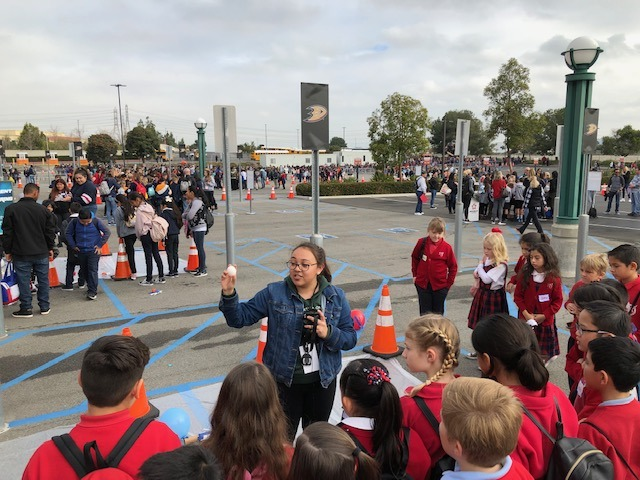 University of La Verne student teaching younger students