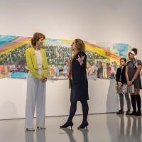 University President Devorah Lieberman talks to Artist Phoebe Beasley.