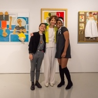 Artist Phoebe Beasley poses for a photo with University of La Verne students Damaris Lao and Shyonta Glothon.