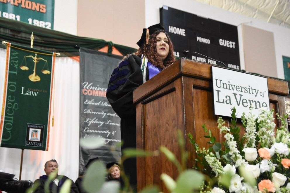 Stduent speaker at graduation.