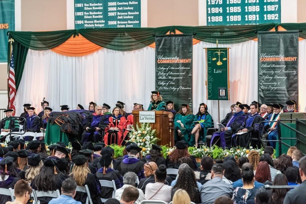 President Lieberman speaks at graduation.