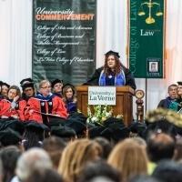 Speaker at graduation.