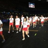 Students walking during opening ceremony
