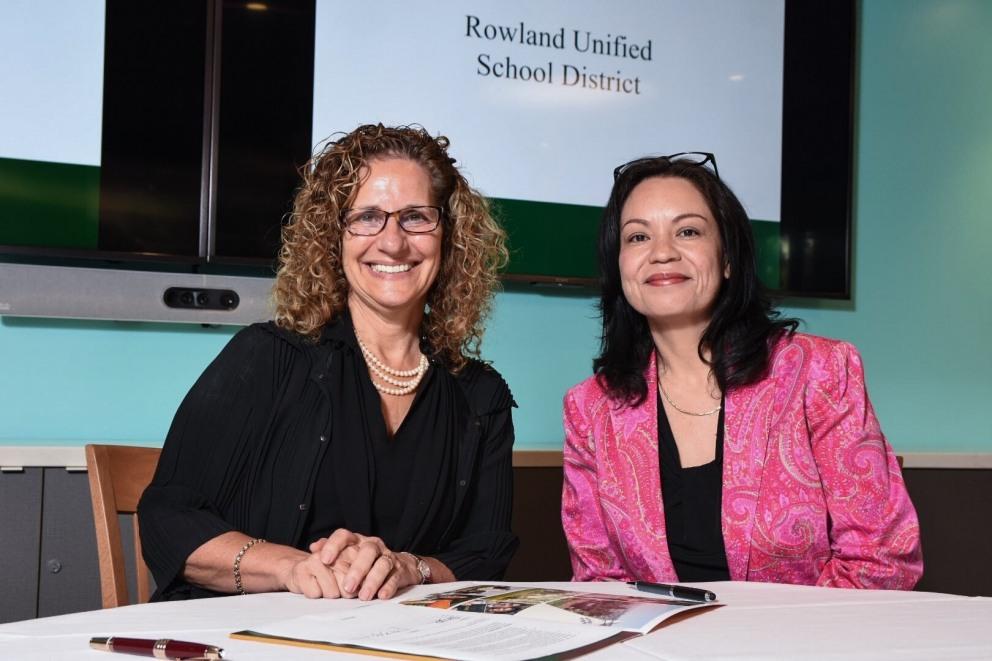 University President Devorah Lieberman with Rowland Unified representative