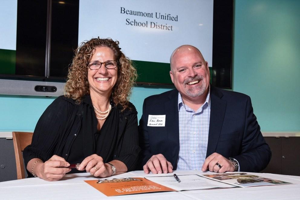 University President Devorah Lieberman with Beaumont Unified representative