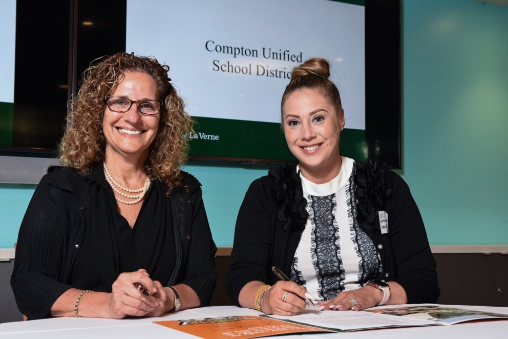 University President Devorah Lieberman with Compton Unified representative