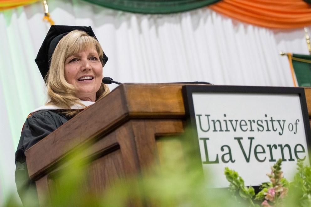 Julie Miller-Phipps at University of La Verne commencement winter 2020