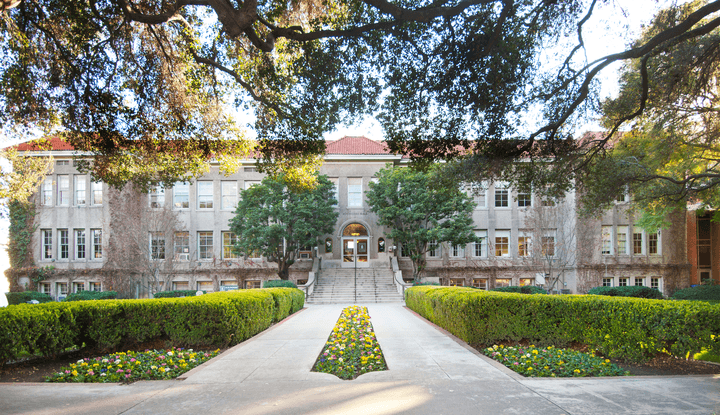 The front facade of Founders Hall