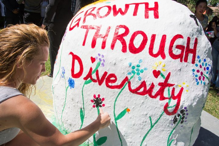 Student paints Growth through Diversity on the Rock